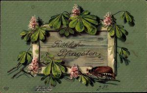 Präge Litho Glückwunsch Pfingsten, Maikäfer und Kastanienblätter, EAS