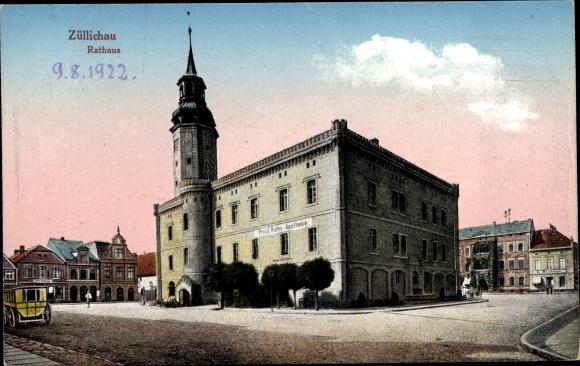 Ak Züllichau Sulechów Ostbrandenburg, Blick auf das Rathaus, Apotheke