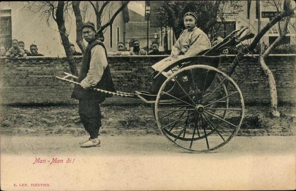 Ak China, Man man di, Rikschafahrer, Chinesen