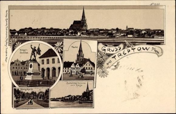 Litho Trzebiatów Treptow Rega Pommern, Kriegerdenkmal, Markt, Badstüberbrücke mit Rega