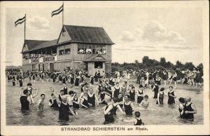 Ak Schierstein Wiesbaden in Hessen, Strandbad, Badegäste im Wasser