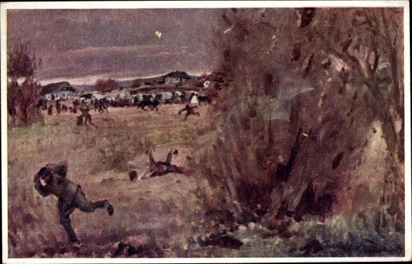 Künstler Ak Fliegerbombe, Feindlicher Flieger, Kuk Soldaten, I. WK