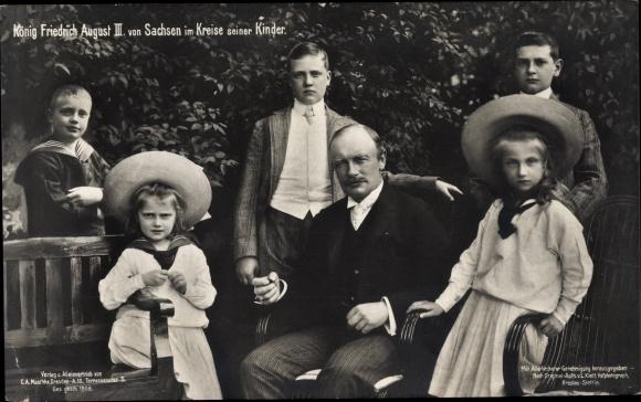 Ak König Friedrich August III. von Sachsen, Familienportrait