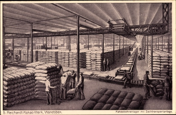 Ak Hamburg Wandsbek, Reichardt Kakao Werk, Kakaobohnenlager mit Sachtransportanlage, Arbeiter