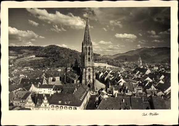 Ak Freiburg an der Elbe im Kreis Stade, Blick auf den Ort mit Münster