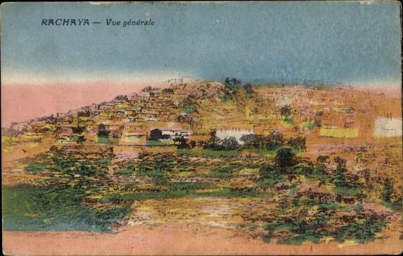 Ak Rachaya Libanon, Vue générale, Panoramaansicht der Ortschaft mit Umgebung