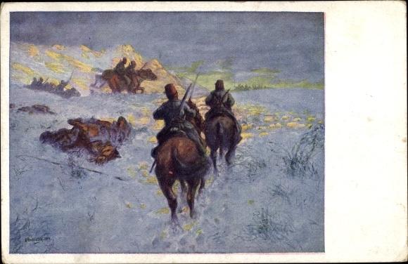 Künstler Ak Türkische Kavallerie schlägt eine russische Patrouille in die Flucht