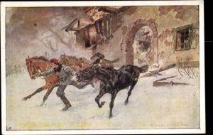Künstler Ak Aus dem goldenen Buche der Armee, Franz Vesely, Kk Landw Ulanen Regt Nr 5, Pferde