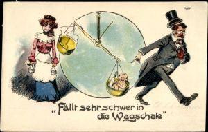Litho Fällt sehr schwer in die Wagschale, Paar mit Baby, Geldbeutel, Waage, Bruno Bürger 7528