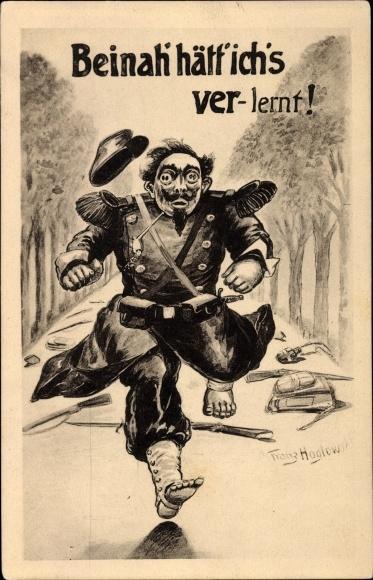 Künstler Ak Hoglowski, Franz, Beinah hätt ich's verlernt, Französischer Soldat