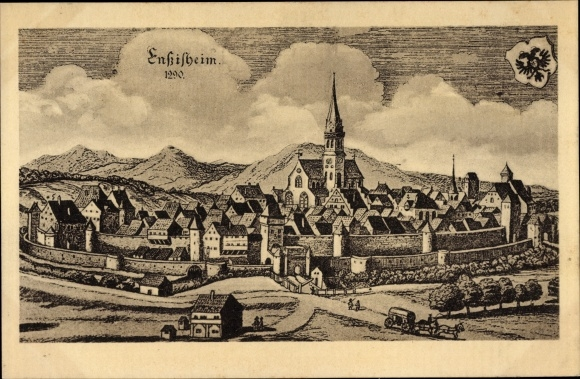 Künstler Ak Ensisheim Elsass Haut Rhin, Historisches Bild der Stadt im Jahre 1290, Wappen