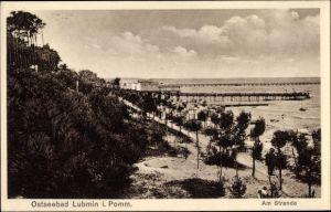 Ak Seebad Lubmin, Partie am Strand, Blick aufs Meer
