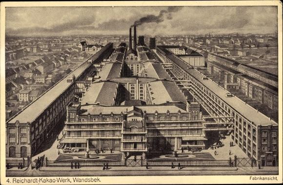Ak Hamburg Wandsbek, Reichardt Kakao Werk, Fabrik aus der Vogelschau