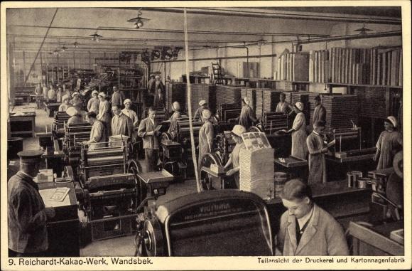 Ak Hamburg Wandsbek, Reichardt Kakao Werk, Teilansicht der Druckerei und Kartonnagenfabrik
