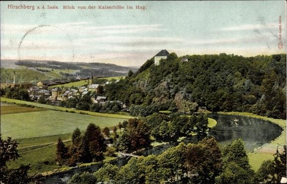 Ak Hirschberg an der Saale, Blick von der Kaiserhöhe im Hag