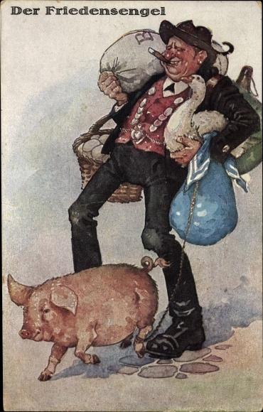 Künstler Ak Der Friedensengel, Schwabe mit einem Schwein, Gans, Eier, Säcke