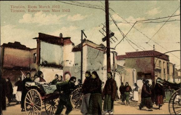 Ak Tianjin Tientsin China, Riots March 1912, Straßenszene, Schäden nach den Märzunruhen