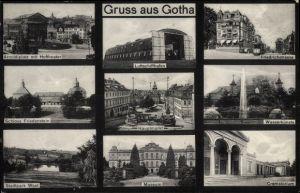 Ak Gotha im Thüringer Becken, Luftschiffhafen, Arnoldiplatz, Friedrichstraße, Krematorium
