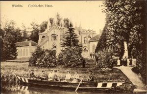 Ak Oranienbaum Wörlitz im Kreis Wittenberg, Gothisches Haus, Ruderboot
