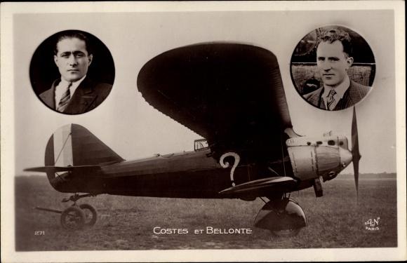 Ak Costes et Bellonte, Piloten, Flugzeug, Propellermaschine