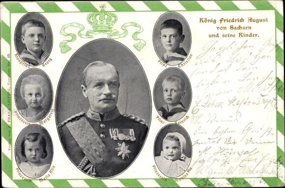 Passepartout Ak König Friedrich August III. von Sachsen, Kinder, Portraits
