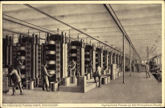 Ak Hamburg Wandsbek, Reichardt Kakao Werk, Arbeiter an den hydraulischen Pressen