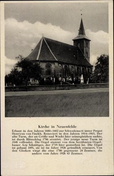 Ak Hamburg Harburg Neuenfelde, Blick auf die Kirche