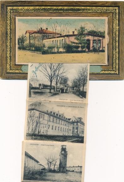 Leporello Ak Griesheim in Hessen, Bureau de la Place, Strassenansicht, Kaserne, Innenansicht Baracke