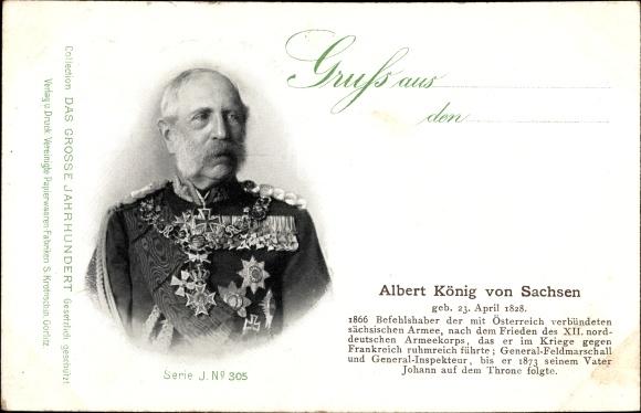 Ak König Albert von Sachsen, Portrait, Geboren 23. April 1828