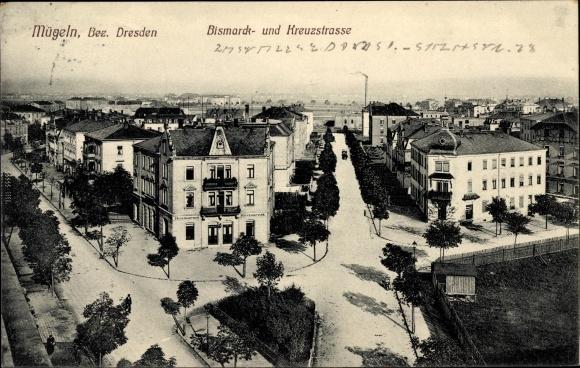 Ak Mügeln Heidenau in Sachsen, Bismarck- und Kreuzstraße
