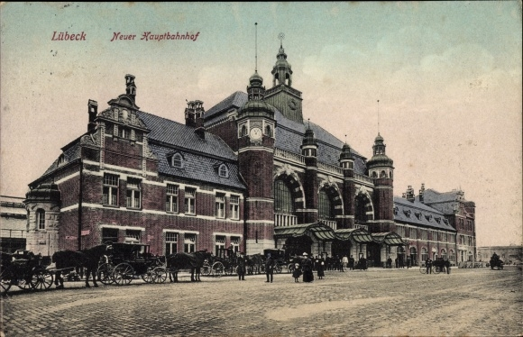 Ak Lübeck in Schleswig Holstein, Partie am neuen Hauptbahnhof