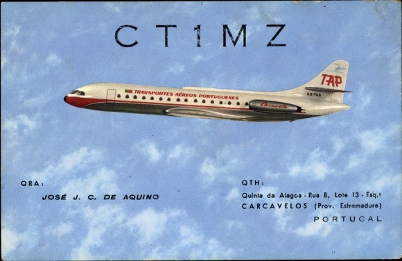 Ak TAP Aereos Portugueses, Passagierflugzeug, Sud Aviation Caravelle, QSL Karte, CT1MZ