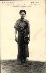 Ak Laos, Chanteuse de Bassac à l'Exposition Coloniale de Marseille, Sao Boun