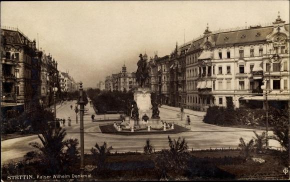 Ak Szczecin Stettin Pommern, Kaiser Wilhelm Reiterdenkmal