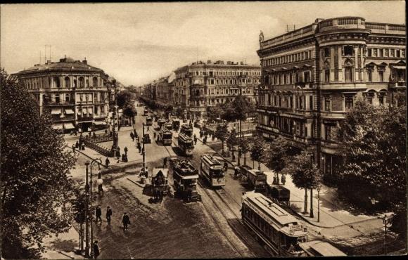 Ak Berlin Tiergarten, Potsdamer Brücke, Straßenbahnen, Geschäftshäuser