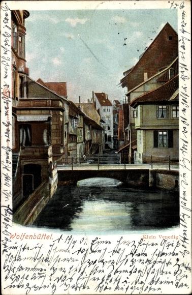 Ak Wolfenbüttel in Niedersachsen, Klein Venedig, Brückenpartie