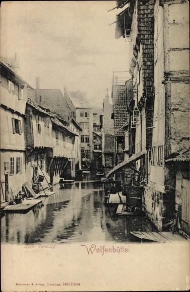 Ak Wolfenbüttel in Niedersachsen, Klein Venedig, Flusspartie, Wohnhäuser