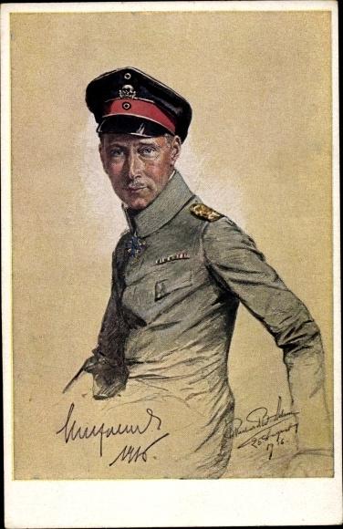 Künstler Ak Kronprinz Wilhelm von Preußen, Portrait in Uniform