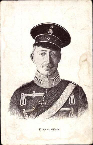 Künstler Ak Kronprinz Wilhelm von Preußen, Portrait, Totenkopfhusar
