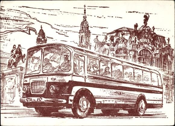 Künstler Ak Dietzel, A., Dresden, Stadtrundfahrt, VEB Verkehrsbetriebe