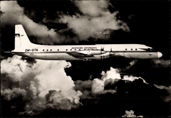 Ak Iljuschin IL-18, Turbinenpropeller Verkehrsflugzeug, Deutsche Lufthansa, DM-STA