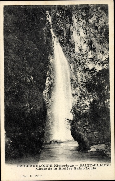 Ak Saint Claude Guadeloupe, Chute de la Rivière Saint Louis, Wasserfall