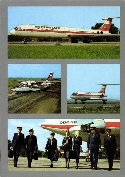 Ak Deutsche Passagierflugzeuge der Interflug, IL62, DDR SEL, Pilote, Flugbegleiterinnen
