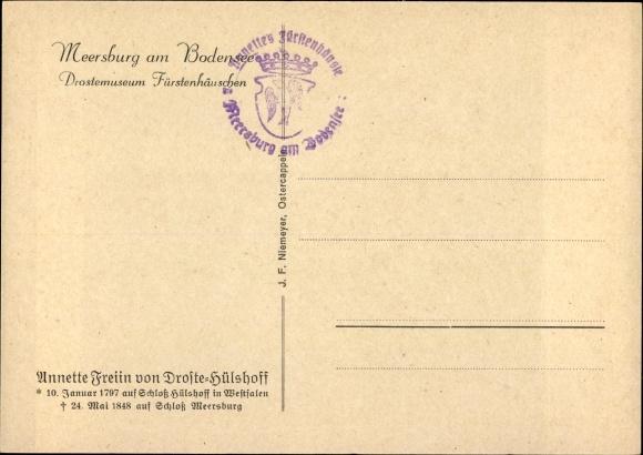 Ak Meersburg Im Bodenseekreis Schriftstellerin Annette Von Droste Hülshoff Gedicht Carpe Diem