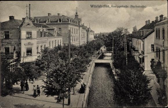 Ak Bad Wörishofen im schwäbischen Kreis Unterallgäu, Kneippstraße, Bachstraße