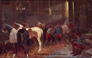 Künstler Ak Einquartierung im Schlosskorridor, Kuk Soldaten, Pferde