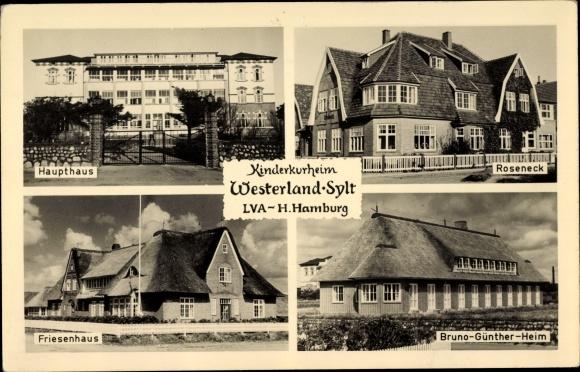 Ak Westerland auf Sylt, Kinderkurheim, Haupthaus, Roseneck, Friesenhaus, Bruno Günter Heim