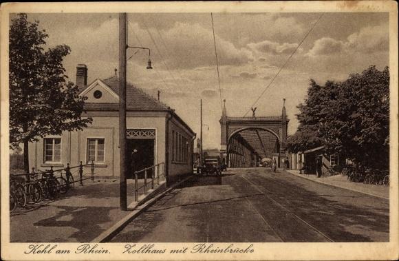 Ak Kehl am Rhein Ortenaukreis Baden Württemberg, Zollhaus mit Rheinbrücke