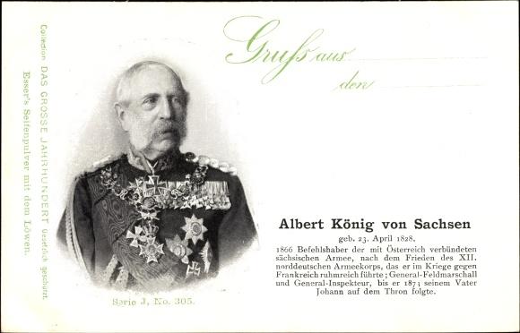 Ak König Albert von Sachsen, Portrait, Geboren 23 April 1828