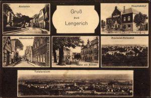 Ak Lengerich im Tecklenburger Land Westfalen, Kirchplatz, Hauptbahnhof, Rathaus, Münsterstraße